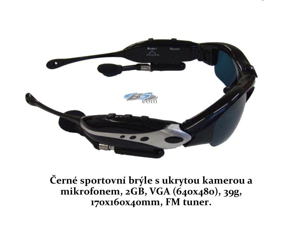 Černé sportovní brýle s ukrytou kamerou a mikrofonem, 2GB, VGA (640x480), 39g, 170x160x40mm, FM tuner.