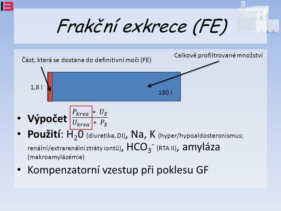 Frakční exkrece (FE) Výpočet Použití: H 2 0 (diuretika, DI), Na, K (hyper/hypoaldosteronismus; renální/extrarenální ztráty iontů), HCO 3 - (RTA II), amyláza (makroamylázémie) Kompenzatorní vzestup při poklesu GF Celkově profiltrované množství Část, která se dostane do definitivní moči (FE) 180 l 1,8 l