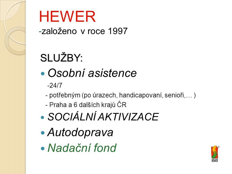 HEWER -založeno v roce 1997 SLUŽBY: Osobní asistence -24/7 - potřebným (po úrazech, handicapovaní, senioři,… ) - Praha a 6 dalších krajů ČR SOCIÁLNÍ AKTIVIZACE Autodoprava Nadační fond