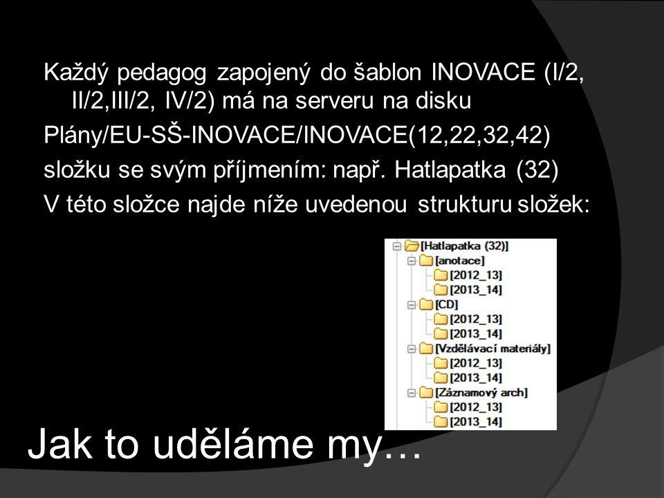Jak to uděláme my… Každý pedagog zapojený do šablon INOVACE (I/2, II/2,III/2, IV/2) má na serveru na disku Plány/EU-SŠ-INOVACE/INOVACE(12,22,32,42) složku se svým příjmením: např.