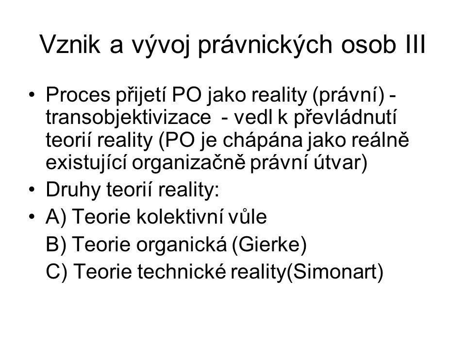 Vznik a vývoj právnických osob III Proces přijetí PO jako reality (právní) - transobjektivizace - vedl k převládnutí teorií reality (PO je chápána jak