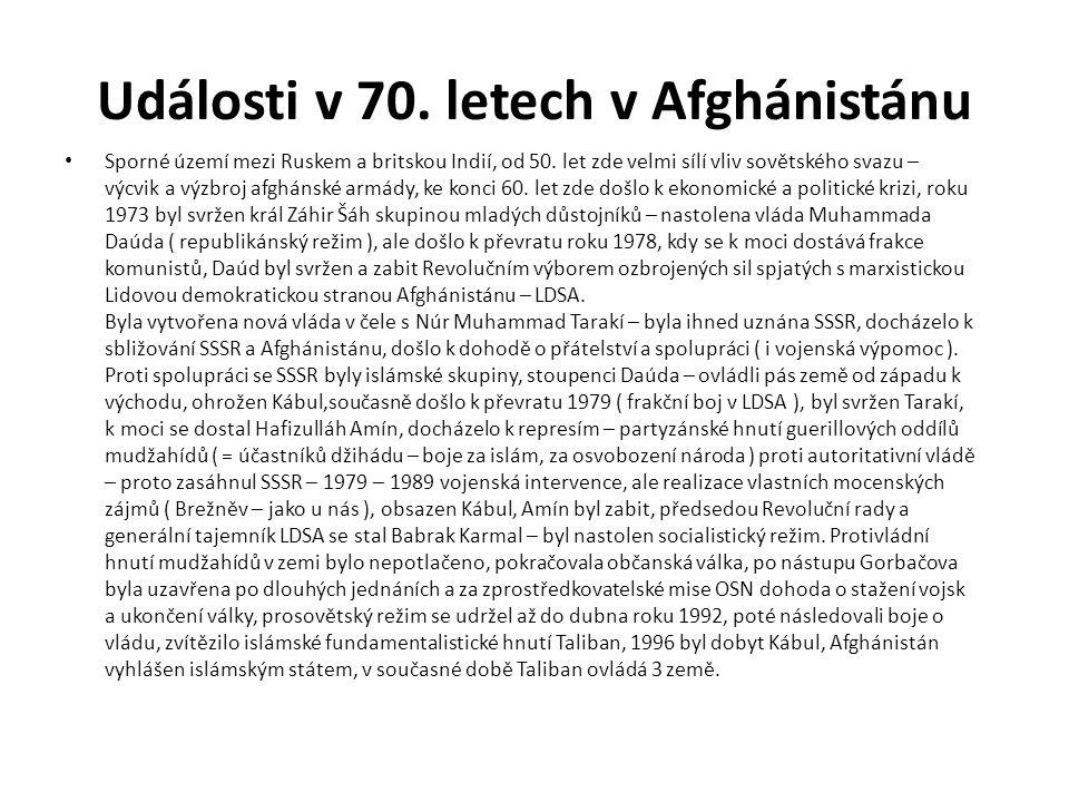 Události v 70. letech v Afghánistánu Sporné území mezi Ruskem a britskou Indií, od 50. let zde velmi sílí vliv sovětského svazu – výcvik a výzbroj afg