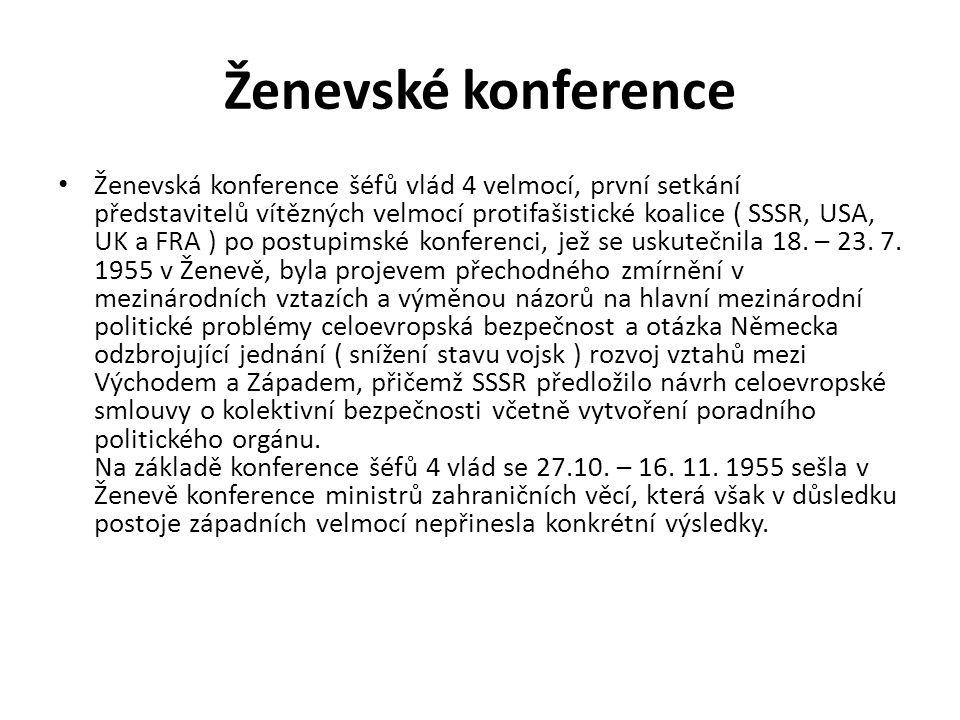 Ženevské konference Ženevská konference šéfů vlád 4 velmocí, první setkání představitelů vítězných velmocí protifašistické koalice ( SSSR, USA, UK a F