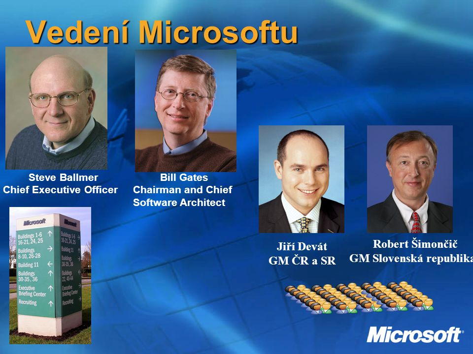 Vedení Microsoftu Bill Gates Chairman and Chief Software Architect Steve Ballmer Chief Executive Officer Jiří Devát GM ČR a SR Robert Šimončič GM Slovenská republika