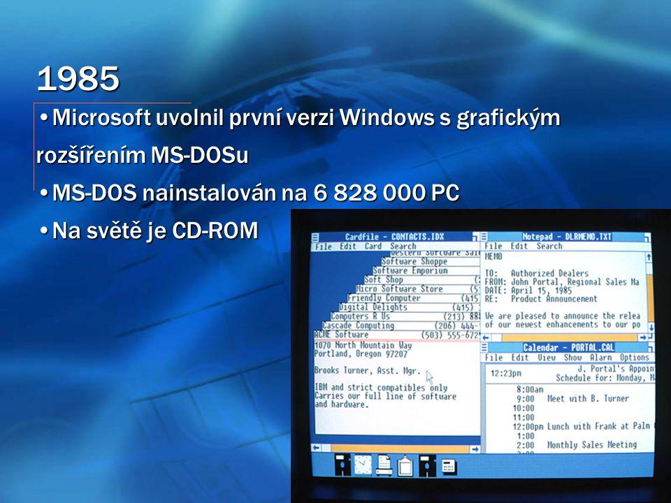 1985 Microsoft uvolnil první verzi Windows s grafickým rozšířením MS-DOSuMicrosoft uvolnil první verzi Windows s grafickým rozšířením MS-DOSu MS-DOS nainstalován na 6 828 000 PCMS-DOS nainstalován na 6 828 000 PC Na světě je CD-ROMNa světě je CD-ROM