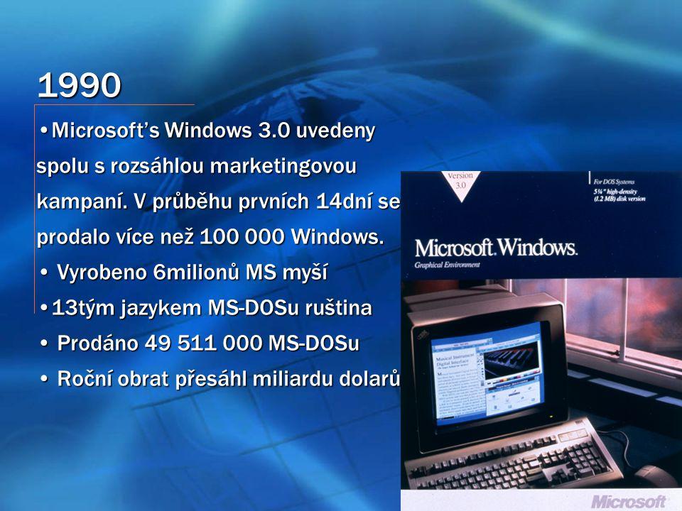 1990 Microsoft's Windows 3.0 uvedeny spolu s rozsáhlou marketingovou kampaní.