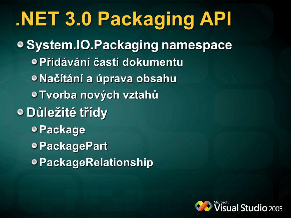 .NET 3.0 Packaging API System.IO.Packaging namespace Přidávání častí dokumentu Načítání a úprava obsahu Tvorba nových vztahů Důležité třídy PackagePackagePartPackageRelationship