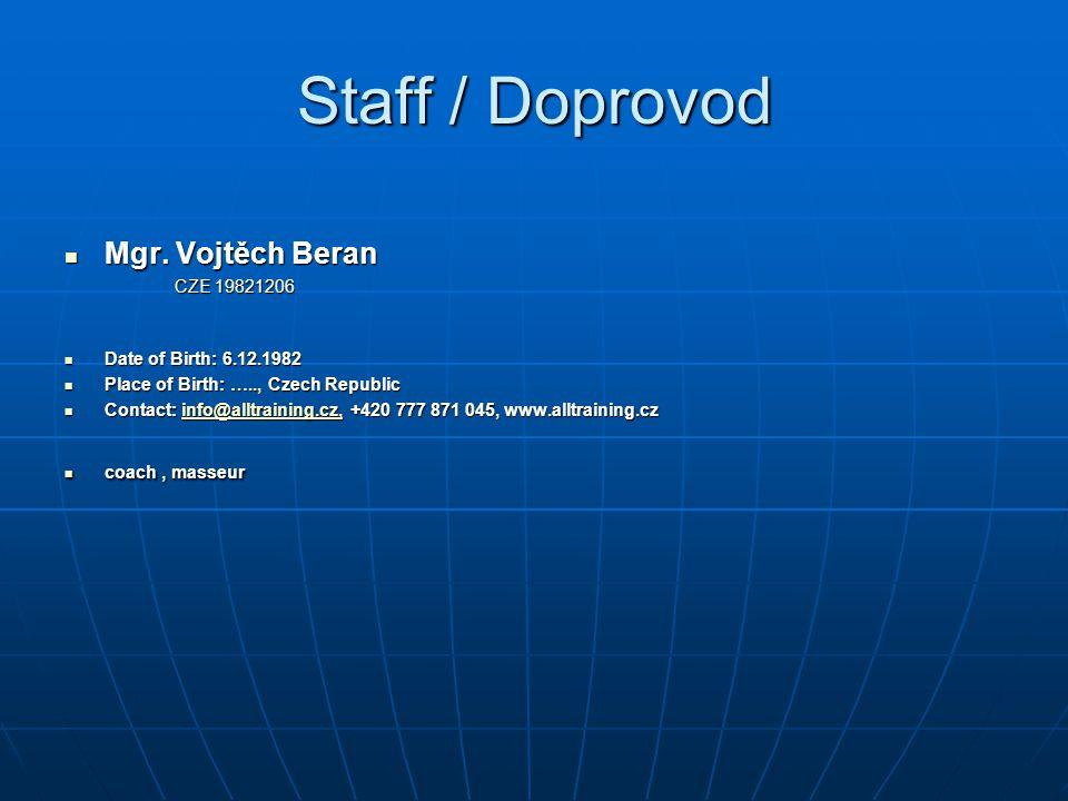 Staff / Doprovod Mgr.Vojtěch Beran Mgr.
