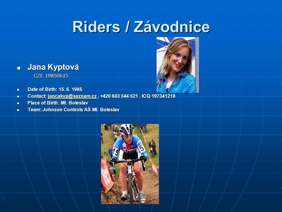 Riders / Závodnice Jana Kyptová Jana Kyptová CZE 19850615 CZE 19850615 Date of Birth: 15.