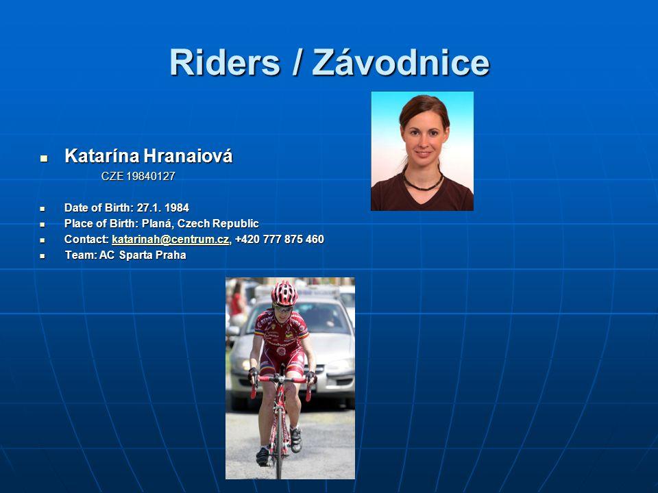 Riders / Závodnice Katarína Hranaiová Katarína Hranaiová CZE 19840127 CZE 19840127 Date of Birth: 27.1.