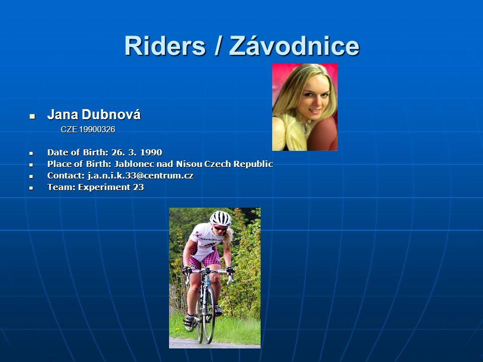 Riders / Závodnice Tereza Trefná Tereza Trefná CZE 19840218 CZE 19840218 Date of Birth: 18.12.