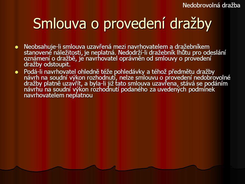 Smlouva o provedení dražby Neobsahuje-li smlouva uzavřená mezi navrhovatelem a dražebníkem stanovené náležitosti, je neplatná. Nedodrží-li dražebník l