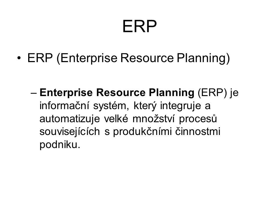 ERP ERP (Enterprise Resource Planning) –Enterprise Resource Planning (ERP) je informační systém, který integruje a automatizuje velké množství procesů souvisejících s produkčními činnostmi podniku.