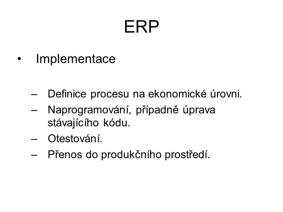 ERP Implementace –Definice procesu na ekonomické úrovni.
