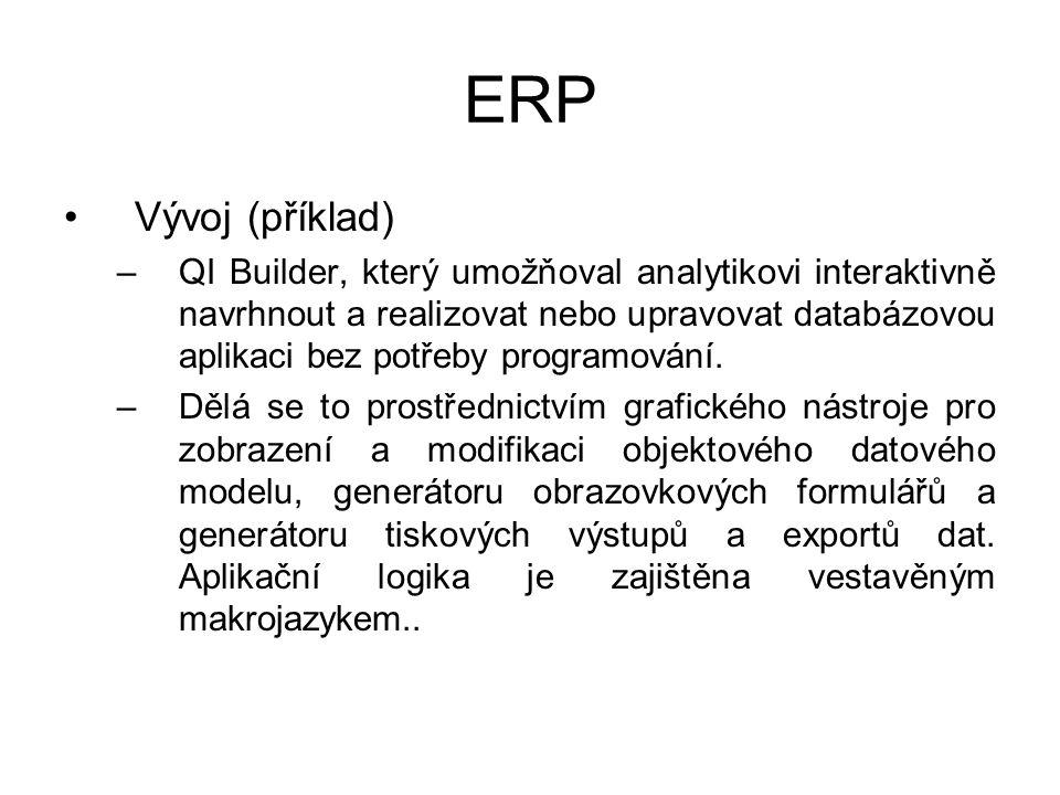 ERP Vývoj (příklad) –QI Builder, který umožňoval analytikovi interaktivně navrhnout a realizovat nebo upravovat databázovou aplikaci bez potřeby programování.