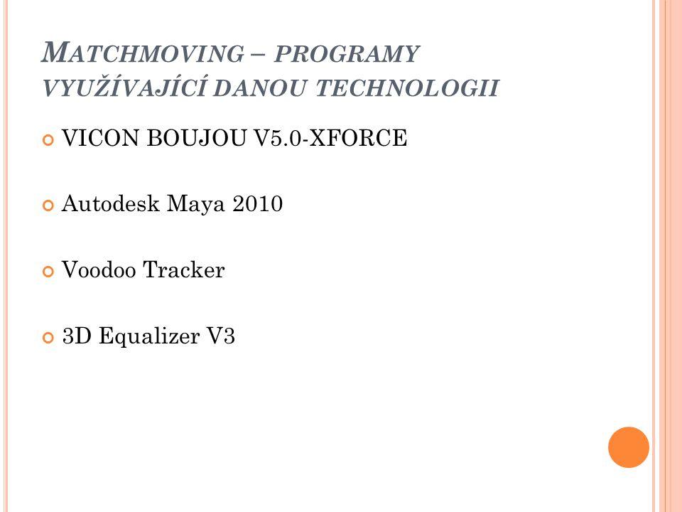M ATCHMOVING – PROGRAMY VYUŽÍVAJÍCÍ DANOU TECHNOLOGII VICON BOUJOU V5.0-XFORCE Autodesk Maya 2010 Voodoo Tracker 3D Equalizer V3