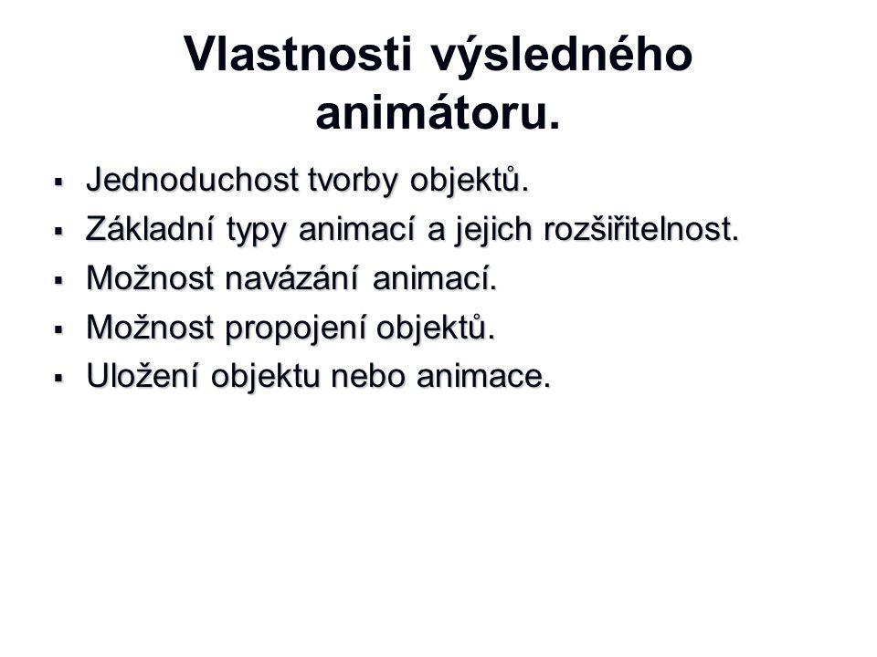 Vlastnosti výsledného animátoru.  Jednoduchost tvorby objektů.  Základní typy animací a jejich rozšiřitelnost.  Možnost navázání animací.  Možnost
