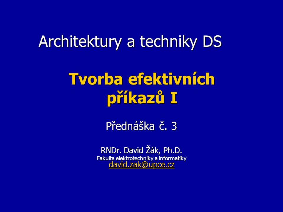 Odstranění vnějšího spojení Příklad – chceme ještě doplnit SELECT a.username, count(*), avg(object_id) FROM all_users a LEFT JOIN all_objects b ON b.owner = a.username GROUP BY a.username; b) Použití 1 skalárního poddotazu s trikem SELECT username, TO_NUMBER(SUBSTR(data,1,10)) počet, TO_NUMBER(SUBSTR(data,11)) průměr FROM (SELECT a.username, (SELECT TO_CHAR(count(*), 'fm0000000009') || avg(object_id) FROM all_objects b WHERE b.owner = a.username) data, FROM all_users a); fm potlačí úvodní mezeru, kterou by číslo mohlo obsahovat, dále je číslo naformátováno na pevnou šířku.