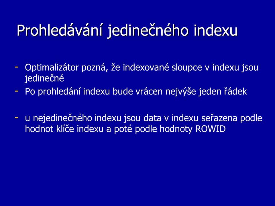 Prohledávání jedinečného indexu - - Optimalizátor pozná, že indexované sloupce v indexu jsou jedinečné - - Po prohledání indexu bude vrácen nejvýše jeden řádek - - u nejedinečného indexu jsou data v indexu seřazena podle hodnot klíče indexu a poté podle hodnoty ROWID