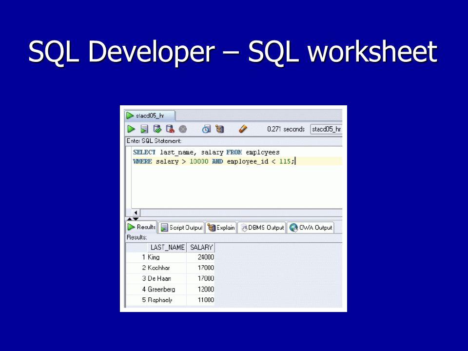 SQL Developer – SQL worksheet