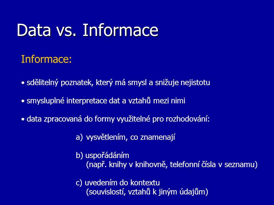Data vs. Informace Informace: sdělitelný poznatek, který má smysl a snižuje nejistotu smysluplné interpretace dat a vztahů mezi nimi data zpracovaná d
