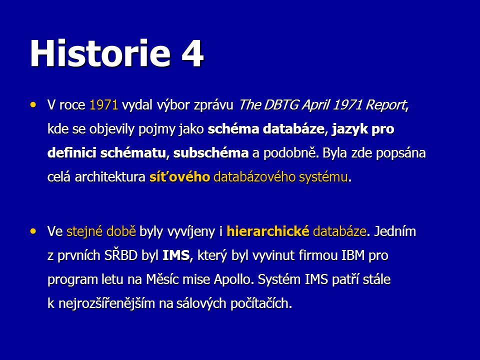 Historie 4 V roce 1971 vydal výbor zprávu The DBTG April 1971 Report, kde se objevily pojmy jako schéma databáze, jazyk pro definici schématu, subsché