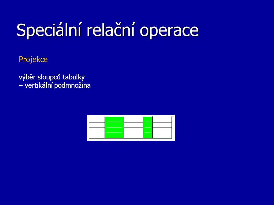 Speciální relační operace Projekce výběr sloupců tabulky – vertikální podmnožina
