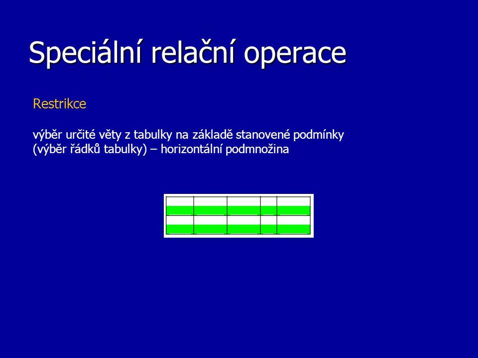 Speciální relační operace Restrikce výběr určité věty z tabulky na základě stanovené podmínky (výběr řádků tabulky) – horizontální podmnožina