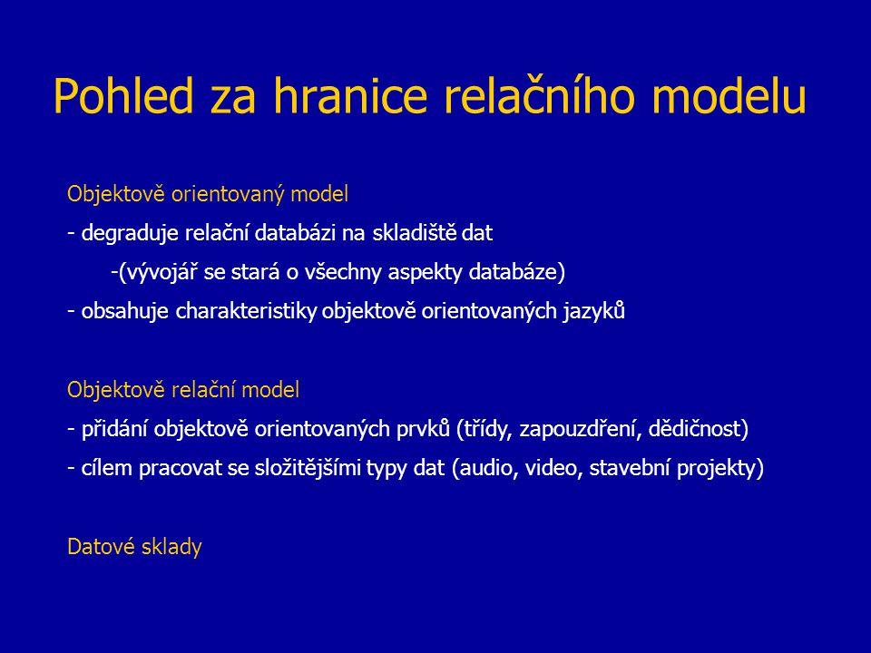 Pohled za hranice relačního modelu Objektově orientovaný model - degraduje relační databázi na skladiště dat -(vývojář se stará o všechny aspekty data
