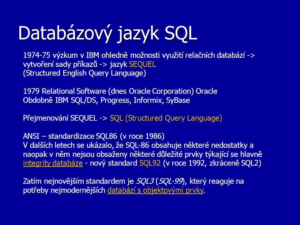 Databázový jazyk SQL 1974-75 výzkum v IBM ohledně možnosti využití relačních databází -> vytvoření sady příkazů -> jazyk SEQUEL (Structured English Qu