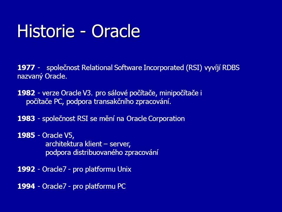 Historie - Oracle 1977 - společnost Relational Software Incorporated (RSI) vyvíjí RDBS nazvaný Oracle. 1982 - verze Oracle V3. pro sálové počítače, mi