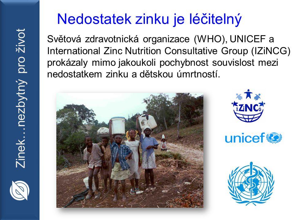 Zinek…nezbytný pro život Nedostatek zinku je léčitelný Světová zdravotnická organizace (WHO), UNICEF a International Zinc Nutrition Consultative Group (IZiNCG) prokázaly mimo jakoukoli pochybnost souvislost mezi nedostatkem zinku a dětskou úmrtností.