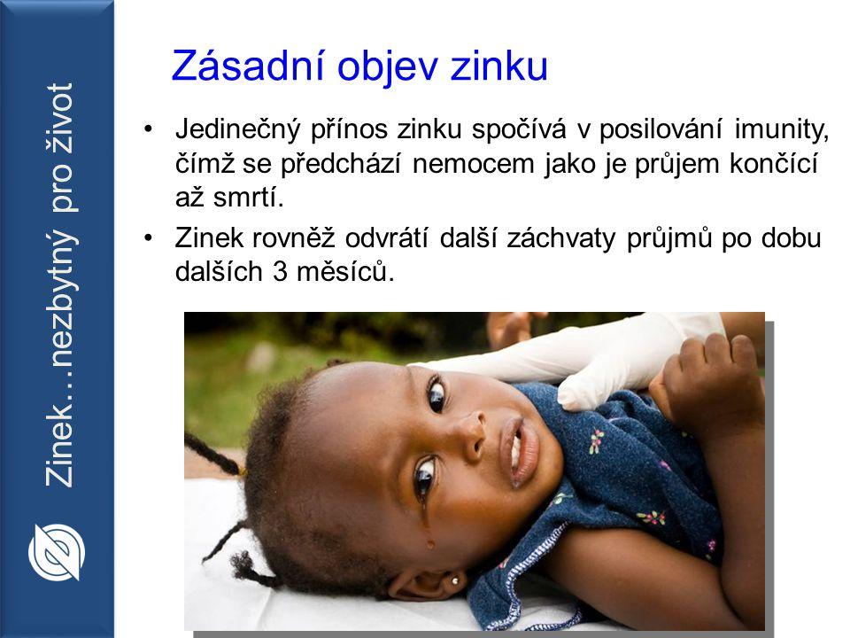 Zinek…nezbytný pro život Zásadní objev zinku Jedinečný přínos zinku spočívá v posilování imunity, čímž se předchází nemocem jako je průjem končící až smrtí.