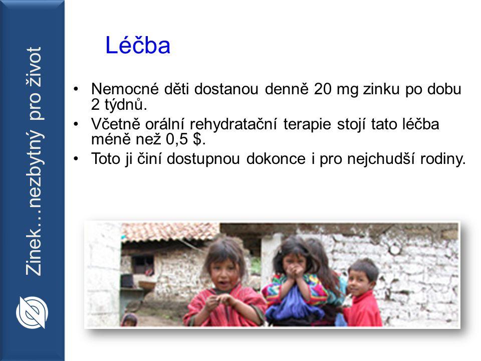 Zinek…nezbytný pro život Léčba Nemocné děti dostanou denně 20 mg zinku po dobu 2 týdnů.