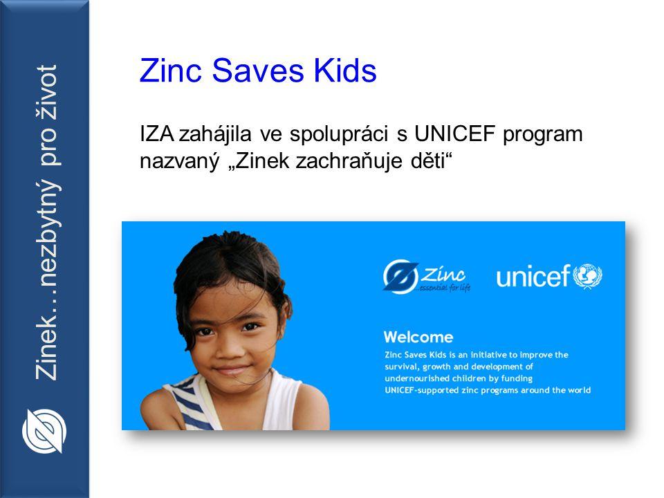 """Zinek…nezbytný pro život Zinc Saves Kids IZA zahájila ve spolupráci s UNICEF program nazvaný """"Zinek zachraňuje děti"""