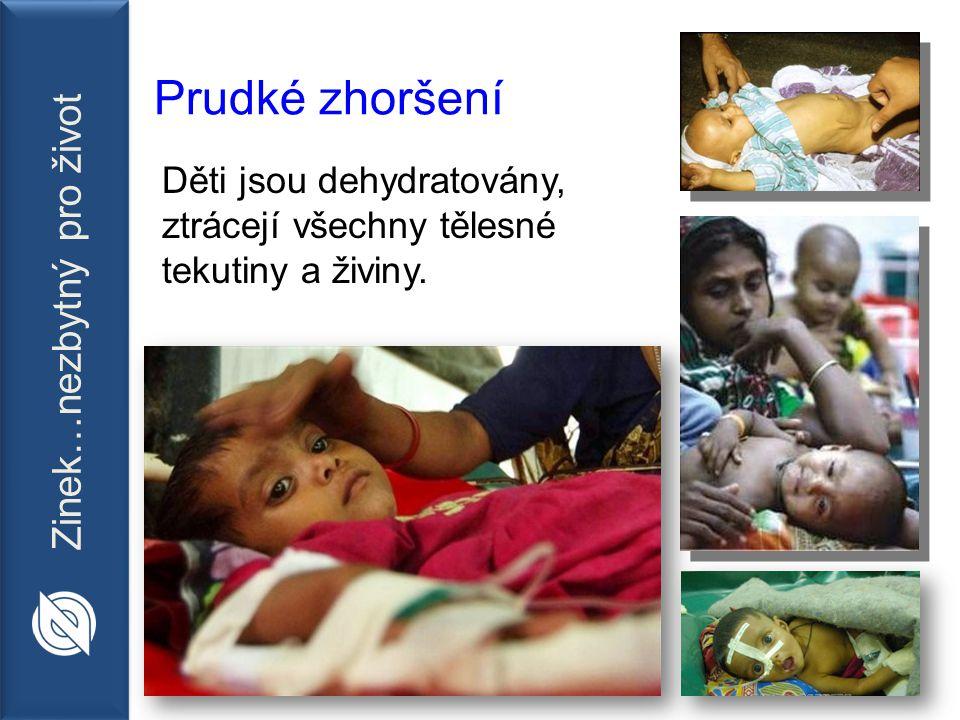 Zinek…nezbytný pro život Prudké zhoršení Děti jsou dehydratovány, ztrácejí všechny tělesné tekutiny a živiny.
