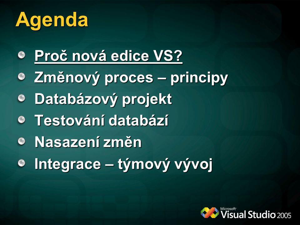 Týmový vývoj Databázový projekt je v principu stejný jako C# / VB.NET projekt a může využívat stejných služeb: Řízení projektu pomocí Work Items Verzované úložiště skriptů Automatický build (+nasazení) Testování Reportování o průběhu projektu Sdílení informací na portále