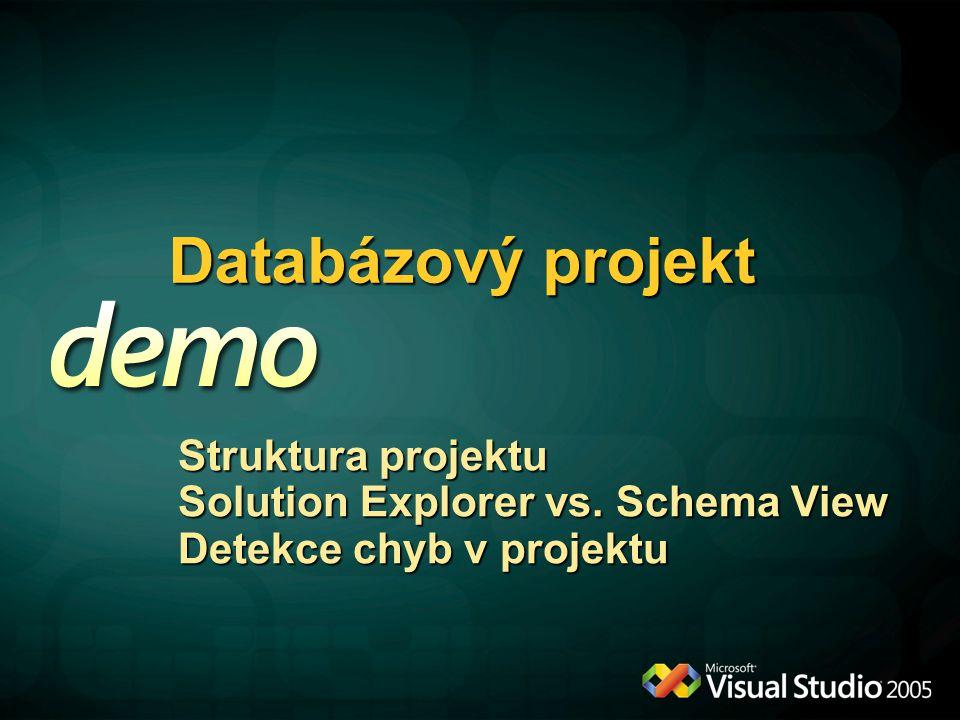 Databázový projekt Struktura projektu Solution Explorer vs. Schema View Detekce chyb v projektu