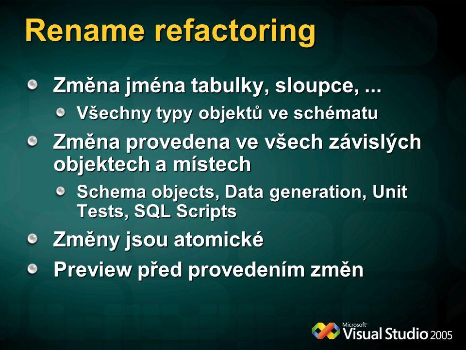 Rename refactoring Změna jména tabulky, sloupce,... Všechny typy objektů ve schématu Změna provedena ve všech závislých objektech a místech Schema obj