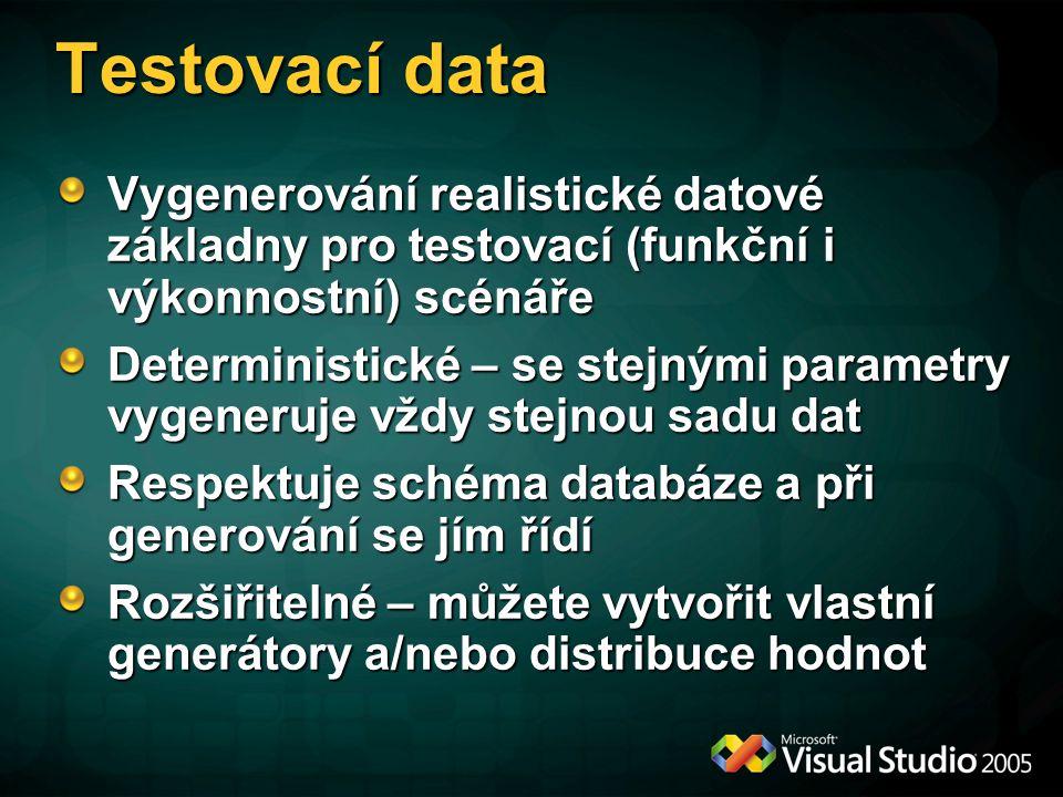 Testovací data Vygenerování realistické datové základny pro testovací (funkční i výkonnostní) scénáře Deterministické – se stejnými parametry vygeneru