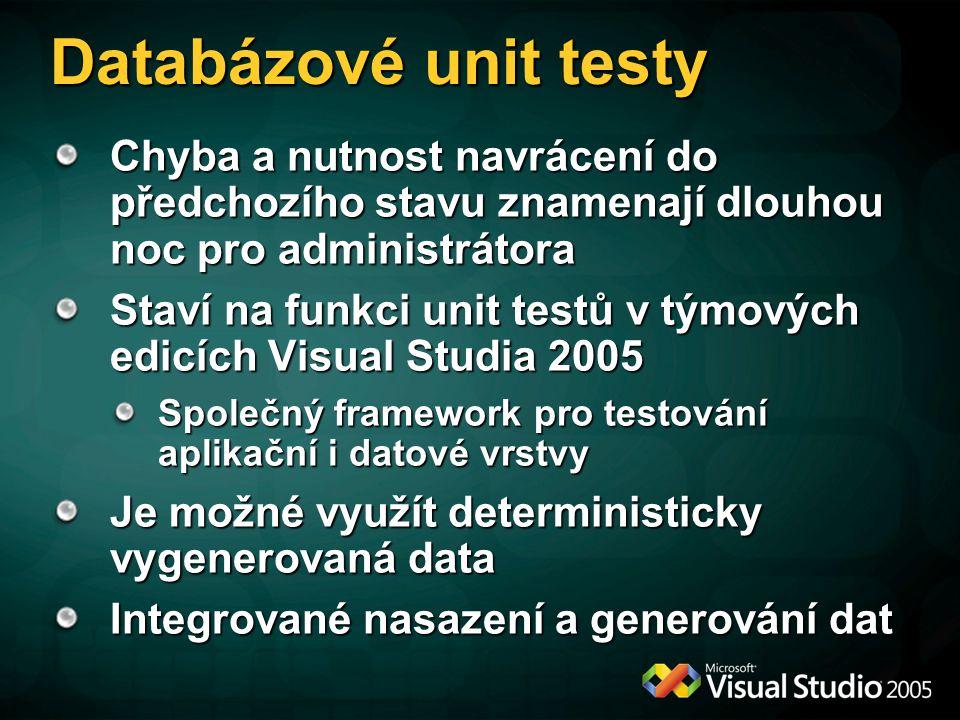 Databázové unit testy Chyba a nutnost navrácení do předchozího stavu znamenají dlouhou noc pro administrátora Staví na funkci unit testů v týmových ed