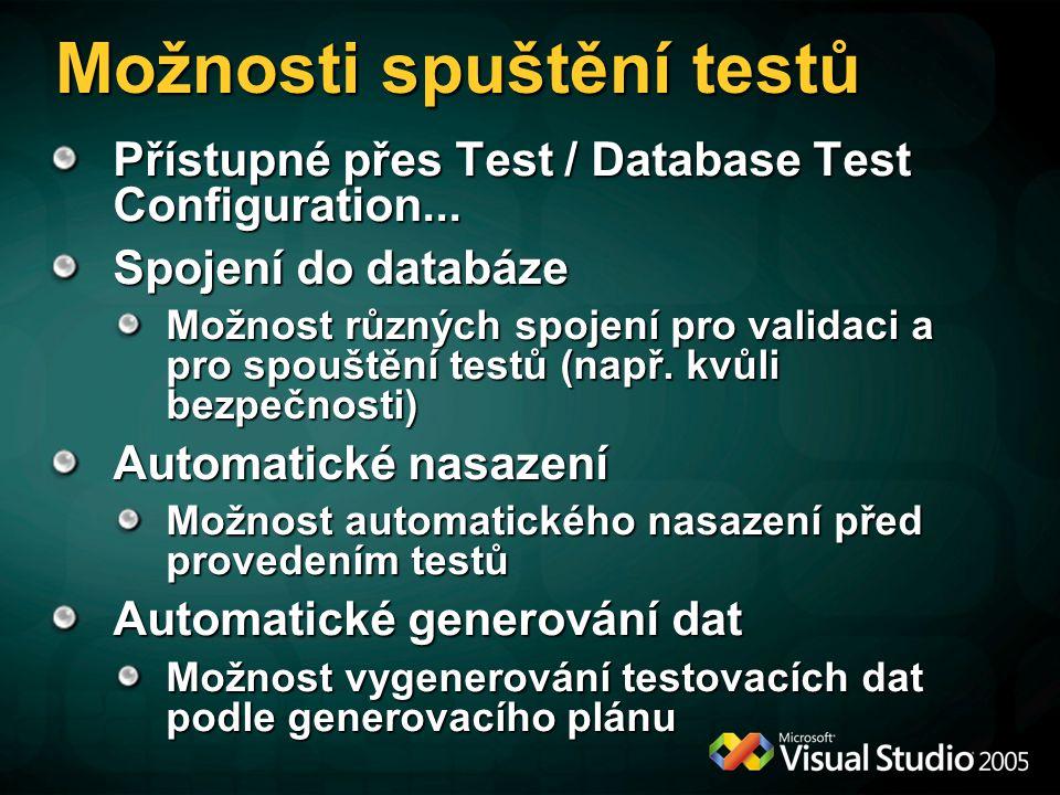 Možnosti spuštění testů Přístupné přes Test / Database Test Configuration... Spojení do databáze Možnost různých spojení pro validaci a pro spouštění