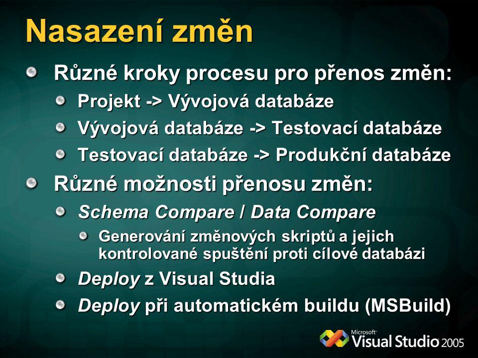 Nasazení změn Různé kroky procesu pro přenos změn: Projekt -> Vývojová databáze Vývojová databáze -> Testovací databáze Testovací databáze -> Produkčn