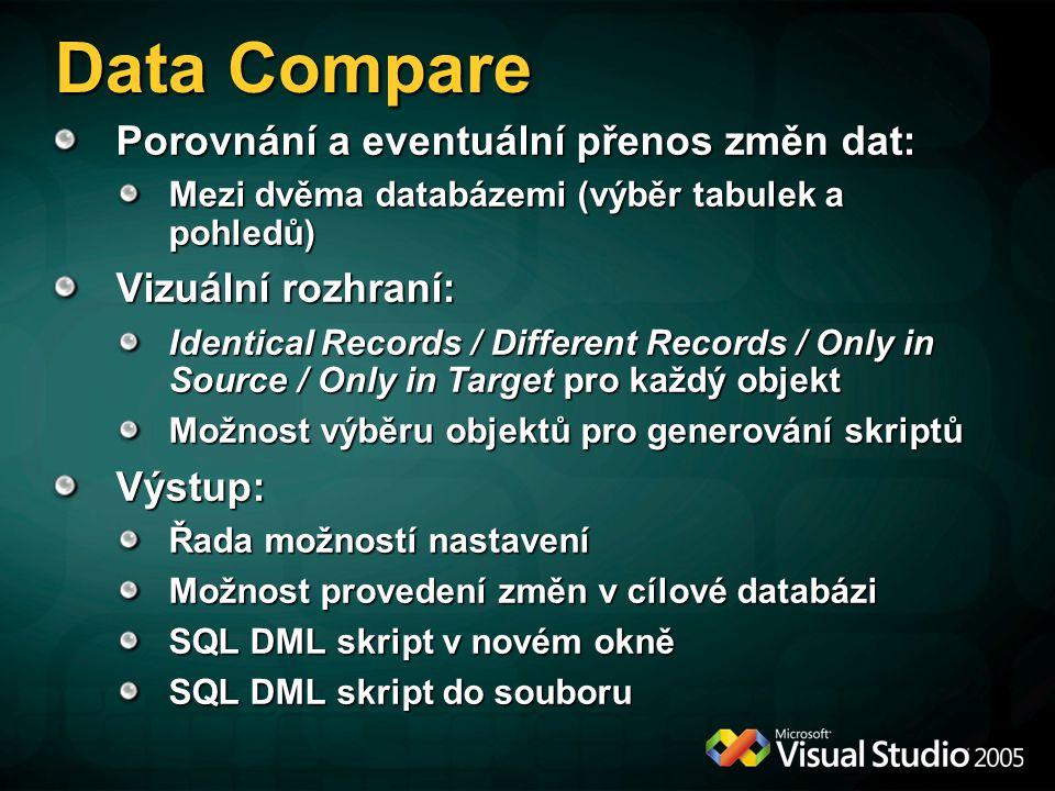 Data Compare Porovnání a eventuální přenos změn dat: Mezi dvěma databázemi (výběr tabulek a pohledů) Vizuální rozhraní: Identical Records / Different