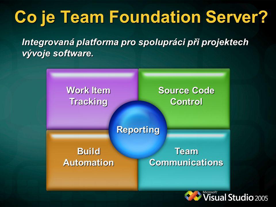 Co je Team Foundation Server? Integrovaná platforma pro spolupráci při projektech vývoje software. Source Code Control Work Item Tracking Build Automa