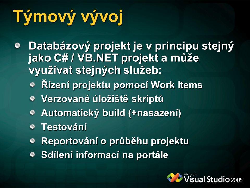 Týmový vývoj Databázový projekt je v principu stejný jako C# / VB.NET projekt a může využívat stejných služeb: Řízení projektu pomocí Work Items Verzo