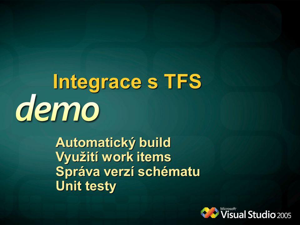 Integrace s TFS Automatický build Využití work items Správa verzí schématu Unit testy