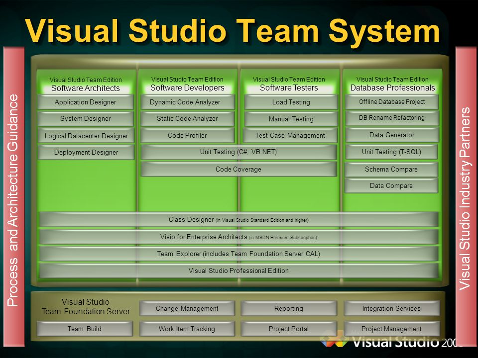 Visual Studio Team System Change ManagementWork Item TrackingReportingProject Portal Visual Studio Team Foundation Server Integration ServicesProject