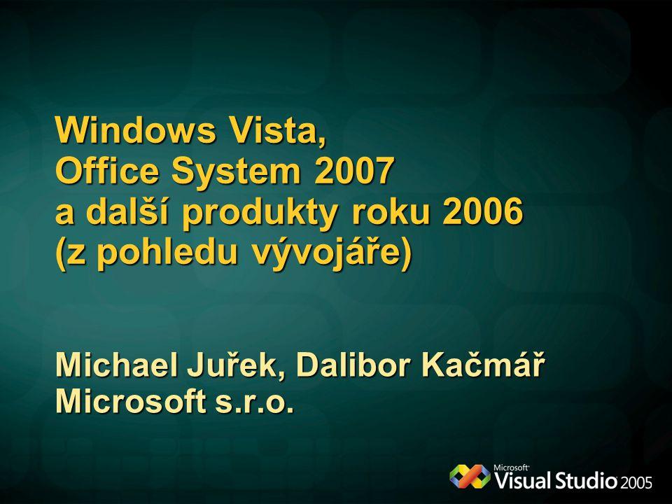 Windows Vista, Office System 2007 a další produkty roku 2006 (z pohledu vývojáře) Michael Juřek, Dalibor Kačmář Microsoft s.r.o.