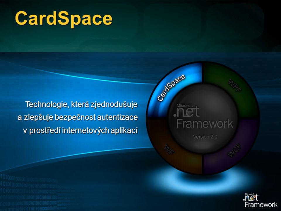 CardSpace Technologie, která zjednodušuje a zlepšuje bezpečnost autentizace v prostředí internetových aplikací